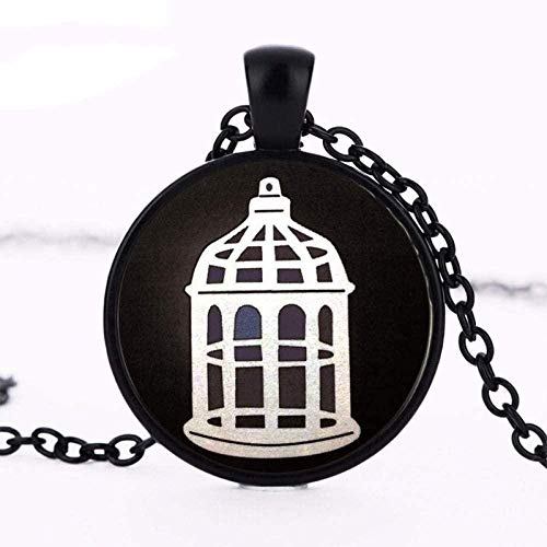 JIUJINBioshock Infinite Bird Cage Logo Anhänger Charms Halskette Halsreif Vintage Statement Halskette Schmuck Geschenk für Best Firend