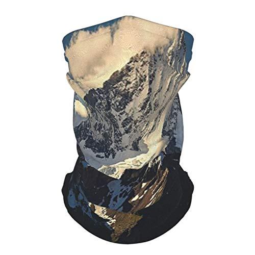 Sombrero Al Aire Libre Seda Diadema Lago Casa Decoración Nieve Montaña Cumbre Nubes En Cielo Tranquilidad En Naturaleza Salvaje Tema Blanco Negro Azul Reutilizable Cuello Polaina Cara Bufanda
