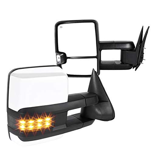 Spec-D Tuning Facelift Style Power + Heated Tow Mirrors W/Smoke Led Signal for 1999-2002 Chevrolet Chevy Silverado Sierra Left + Right Pair