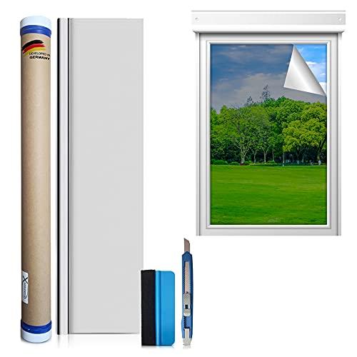 X-Solutions   Protección UV solar para ventana interior o exterior   lámina de espejo autoadhesiva   lámina reflectante plateada   lámina para ventana   90 x 200 cm