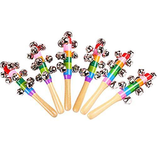 6 Pcs Vivid Color Rainbow Handle Wooden Bells Jingle Stick Shaker Rattle Baby Kids Children Musical ????????????????