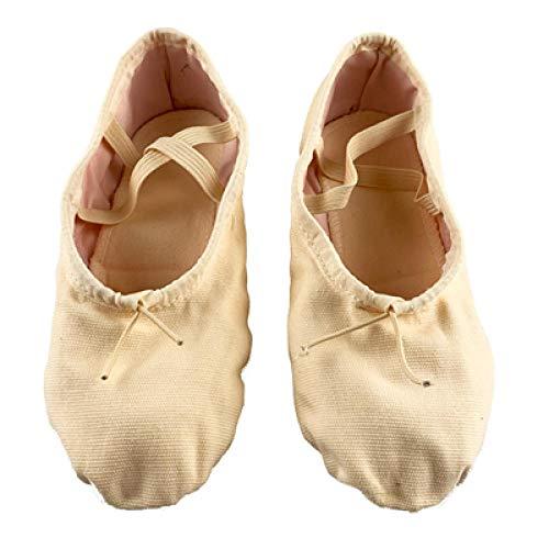 Zapatos de Baile de Lona de diseñador Suela de tacón Dividido Baile Interior Jazz Hombres Mujeres-Desnudo_13,5