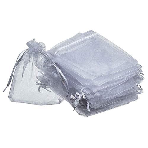 Bolsas de regalo de organza, 100 unidades de hilo duro con cordón para Navidad, boda, fiesta de cumpleaños (gris, 7 x 9 cm)