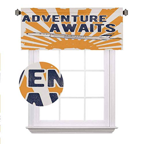 Adventure Window Valance,Commercial Airplane with Rising Sun Adventure Quote Aviation Journey Print Decorative Curtain Valance for Kitchen Bedroom Decor with Rod Pocket,52'x 18',Navy Blue Orange