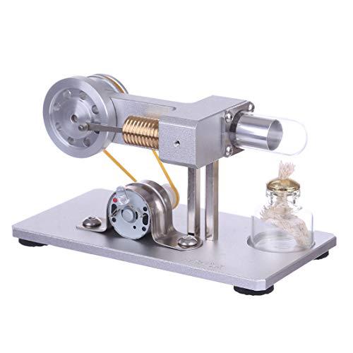 Haunen Stirling Motor Modellbau, Stirlingmotor Bausatz mit Messing Zylinder Stirling Motor Pädagogisches Spielzeug für Kinder und Erwachsene - Weiß