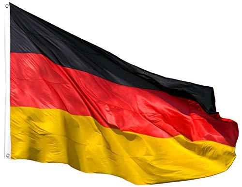 L + H WORLD Deutschlandfahne XXL | Deutschland Fahne 90 x 150 mm aus hochwertigem Stoff mit Ösen | Germany Flag Flagge Fahne Groß für Fahnenmast Garten Balkon Auto