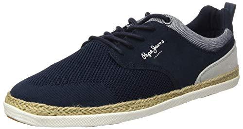 Pepe Jeans London Herren Maui Sport Knit Espadrilles, Blau (Navy 595), 42 EU