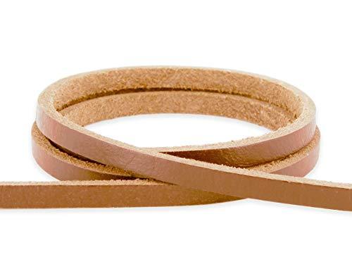 Auroris - Lederband flach 5x3 mm aus Rindsleder Länge: 5m, Farbe: Hellbraun