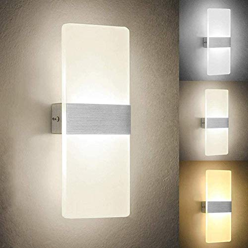 2 Aplique LED lámpara de pared de interior de metal y acrílico luz up and down, apto para salón, pasillo, baño, escaleras, 8 W Dimensiones 10 x 27 cm