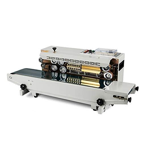 VEVOR Máquina de Sellado Continuo Automático FR-900, 500 W 0-12 m/min 220 V Selladora de Banda 86x45x33 cm Selladora Automática Horizontal para Sellar Bolsas de Plástico/Papel de Aluminio/Compuestas