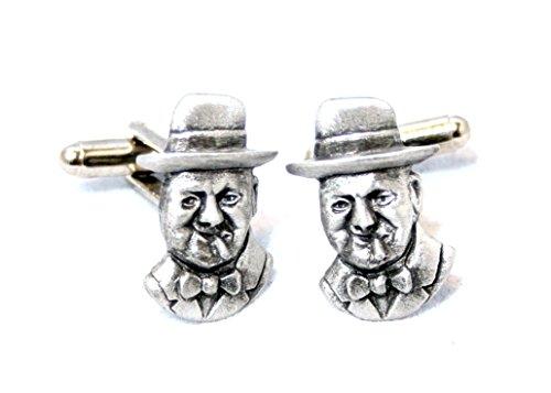 Winston Churchill boutons de manchette par hoardersworld, fait à la main en étain anglais (NIC)