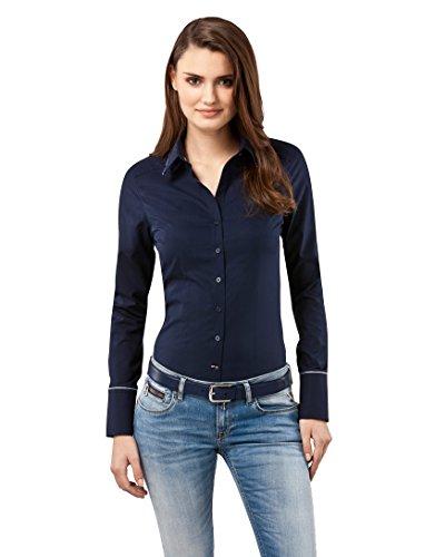 Vincenzo Boretti Damen Bluse tailliert 100% Baumwolle bügelfrei Langarm Hemdbluse elegant festlich Kent-Kragen auch für Business und unter Pullover dunkelblau 34
