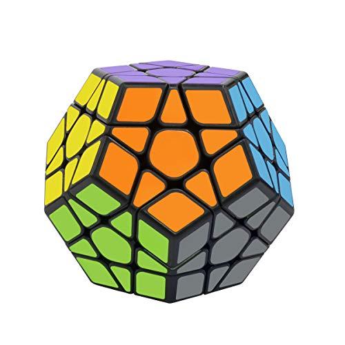 Coolzon Zauberwürfel Megaminx Speed Cube, Dodekaeder Magic Puzzle Cube Zauber Würfel PVC Aufkleber für Kinder und Erwachsene, Schwarz