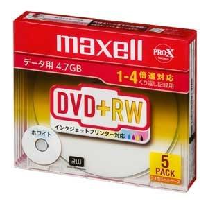 maxell データ用 DVD+RW 4.7GB 4倍速対応 インクジェットプリンタ対応ホワイト 5枚 5mmケース入 D+RW47PWB.S1P5S A