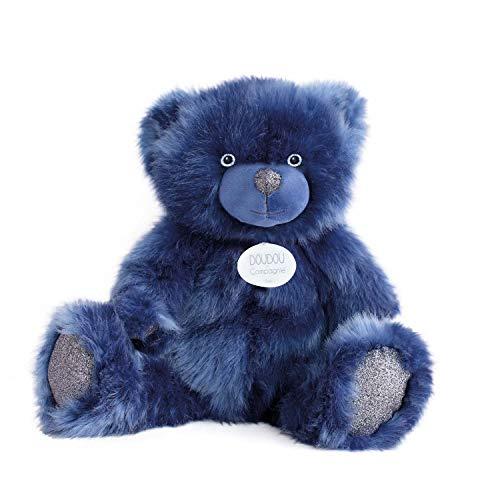 Hoogwaardige pluche beer ca. 40 cm met hartvormige hanger op lederen band extreem zacht pluche om te knuffelen 40 cm blauw