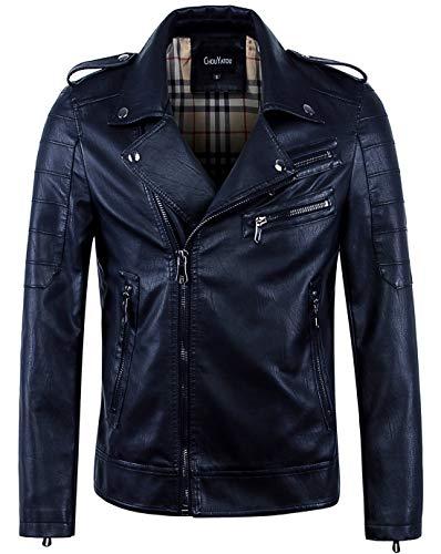 chouyatou Men's Vintage Asymmetric Zip Lightweight Faux Leather Biker Jacket (Medium, Dark Blue)