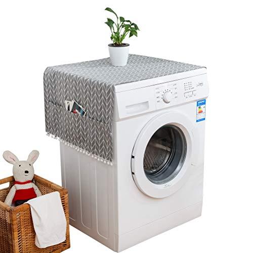 Macabolo Wasserdichte Kühlschränke Staubdichte Abdeckung Waschmaschine Top Abdeckung mit Aufbewahrungstaschen 55 * 130cm/21.65 * 51.18inch grau