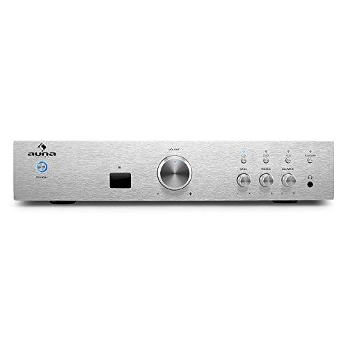 auna AV2-CD508BT - Amplificador de Alta definición , Bluetooth , HomeCinema estéreo , Ecualizador 2 Bandas , Rendimiento 600W , Entrada AUX , Ajuste de Graves y Agudos , Mando a Distancia , Plateado
