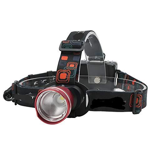 Linterna frontal LED con zoom, resistente al agua, cabeza de faro de camping, linterna frontal, linterna de caza eléctrica