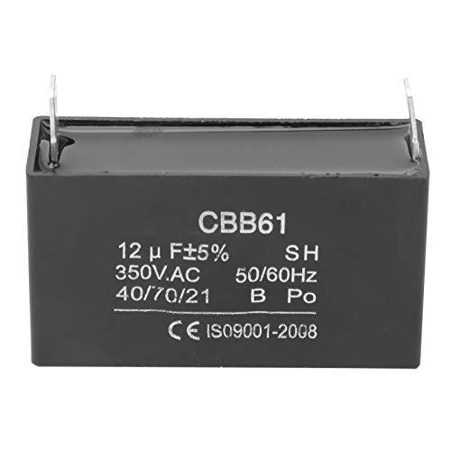 Condensador de generador, condensador de plástico CBB61, generador de gasolina, condensador de motor de aire acondicionado de arranque, 350 V CA 12 UF