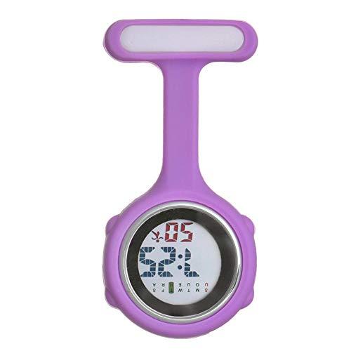 Cxypeng Damen Krankenschwester FOB Uhr,Silikon leuchtende medizinische Krankenschwester Uhr Taschenuhr elektronische Digitale Brust-lila,Pulsuhr Kitteluhr Pflegeuhr