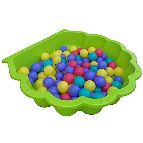 TikTakToo Sand & und Wassermuschel I Sandkasten mit Abdeckung (1-teilig) (apfelgrün mit 100 Bunte Bälle)