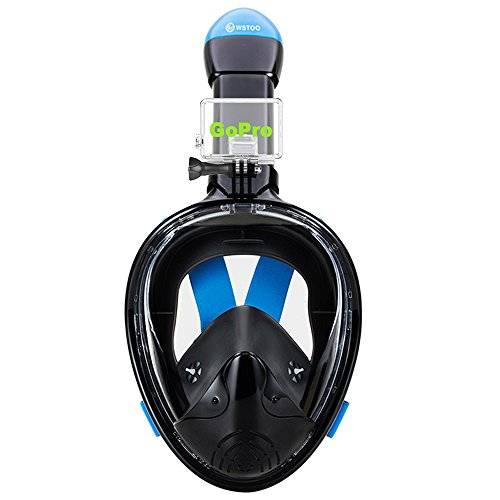 WSTOO 180° Full Face Snorkel Mask-Panoramic Wide View Snorkel Mask For Adults And Kids,Anti-Fog Anti-Leak Snorkeling Design,See More Water World Larger Viewing Area