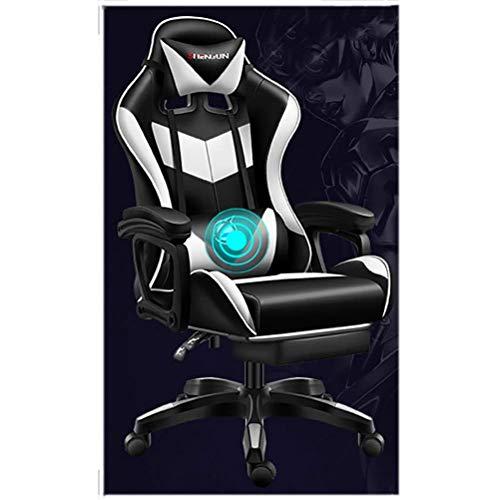 Sedia da gioco reclinabile con altoparlanti Bluetooth/per ufficio per adulti Desk Chair Game Game Sedia/Regolazione dell'altezza/Poggiatesta e massaggio Supporto lombare, Grigio, Tolleranza: 150 kg