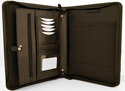 Cartella Noda, in finta pelle, in PU, con cerniera, cartella per conferenza aziendale, formato: A4, cartella portadocumenti, colore: nero.