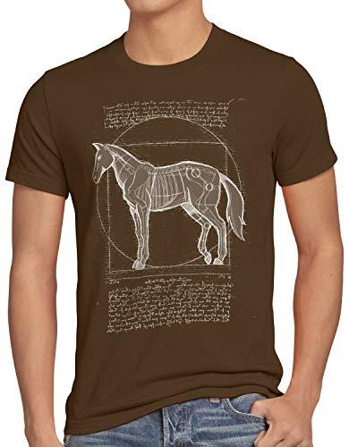 style3 Caballo de Vitruvio Camiseta para Hombre T-Shirt yegua Semental Pony Montar, Talla:3XL, Color:Marrón