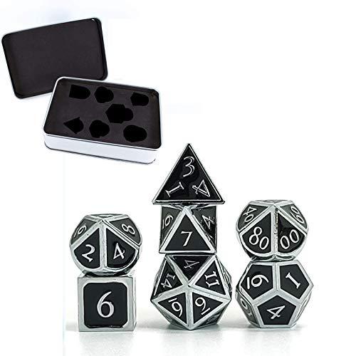 Sheuiossry 7 piezas números romanos dados metálicos DND juego D & D dados con caja de metal exquisita hermosa dados conjuntos de dados para juegos de mesa