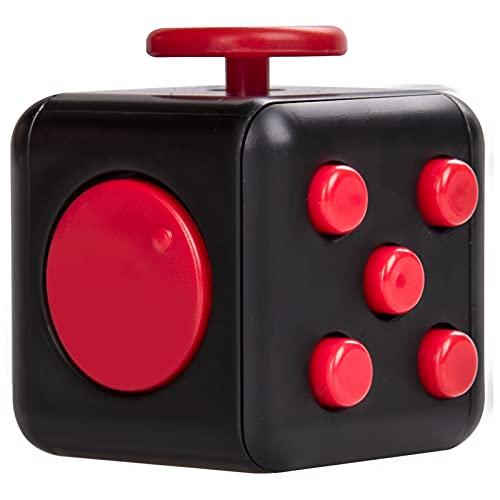 Fidget Stresswürfel mit 6 Seiten, Fidget Cube mit Hülle Schreibtisch-Spielzeug Klicker Joystick, Tasten zum Stressabbau, bei Angst, zum Konzentrieren ADHD Autismus für Erwachsene Kinder(Schwarz Rot)