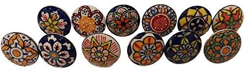 Knobsworld 005 - Pomelli in ceramica con motivo floreale, 12 pezzi