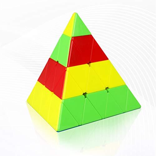 JIARUN 4 Pasos Pyramid Magic Cube, 4x4 triángulo Color sólido Cubo Liso, Juguetes educativos, Rompecabezas de niños 3D