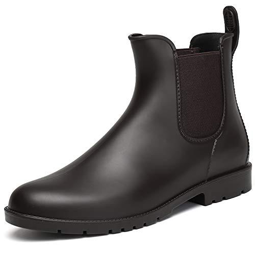 SAGUARO Damen Kurzschaft Stiefel Gummistiefel Gummistiefeletten Regenstiefel Chelsea Boots, New Braun 41