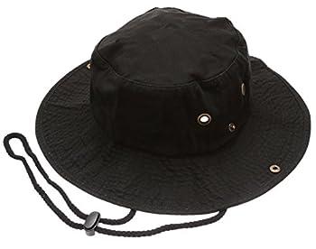 Summer Outdoor Boonie Hunting Fishing Safari Bucket Sun Hat with Adjustable Strap Black,SM