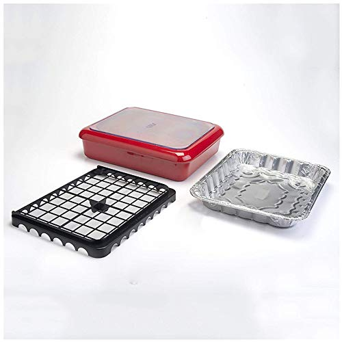 Portable Foil Pans Casserole Barbecue Gericht Widersteht Hohen Temperaturen von 200 Grad Celsius Familie Küche Party Geschirr Fach Mikrowellengeeignet Schüsseln (Rot)