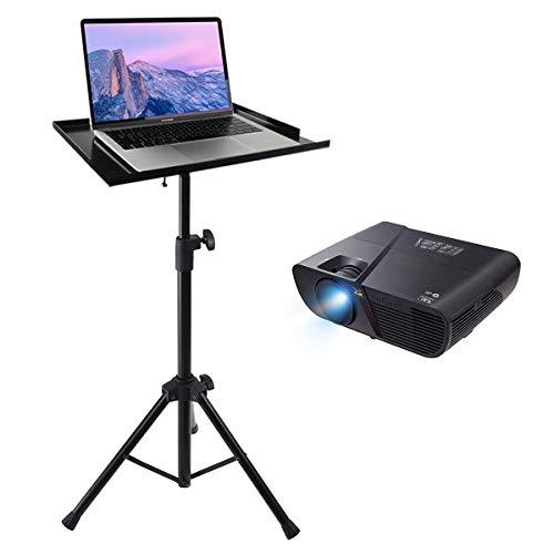 display4top Tragbarer Verstellbarer Stativ-Laptop-Bodenständer, Schwerer Projektor Steht, einstellbare Höhe von 70 cm - 122 cm, Schwarz