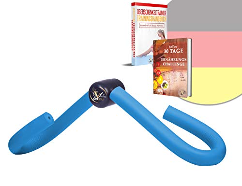 OnFit ® Oberschenkeltrainer in Premium Qualität [inkl. Trainingshandbuch und Anleitung] - [inkl. 30 Tage Online Ernährungschallenge] multifunktional - Heimtrainer mit superweichen Schaumstoff - Blau