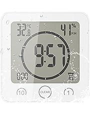 YUNYODA Reloj de Ducha Digital LCD Reloj de Ducha Impermeable Reloj de baño Digital con Ventosa, Alarma, Pantalla de Temperatura y Humedad,Temporizador de Cuenta Regresiva Reloj Digital para Ducha