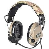 ZTAC Sordin - Auriculares de diadema deportivos, con micrófono protección auditiva de amplificador sonoro ideal para el Tir y la caza y Airsoft Z111(Desierto)