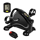 Pedal Exerciser Portable Exercise Peddler Mini Exercise Bike Under Desk Bike for Legs and Arms Workout with LCD Display (Black)