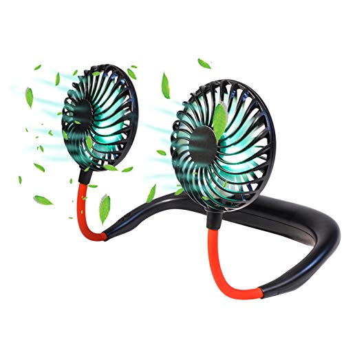 Neck Fan Portable Personal -Hanging Neck Sports Fan,Hands Free USB Rechargable Wearable Neckband Fan Battery Operated with 3 Level Air Flow Headphone Design Cooling Head Fans Mini Necklace Fan for offics (AJY)