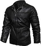 LILIXINGSH Chaquetas de Moto Chaqueta de Cuero de Cuello de Soporte for Hombre Moda de Motocicleta Classic Faux Cuero Outwear Outwear (Color : Black, Size : 4XL-4XLarge)