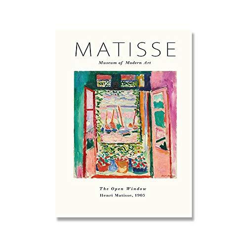 Henry Matisse carteles e impresiones retro de moda galería abstracta arte de la pared lienzo pintura sin marco para el hogar C 20x30cm
