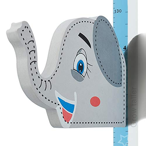 Wopeite Gráfico de crecimiento Elefante 3D, Medidor de altura de quita y pon para niños, Pegatinas de pared movibles para escribir sobre ellas, Material EVA, Vinilos para dormitorio infantil