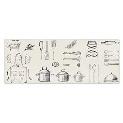 U'Artlines Alfombra Cocina Antifatiga PVC Colchoneta Confort Acolchada para Cocina Alfombrilla de Cocina Gruesas Impermeables Antideslizante Duradero Resistente a Las Manchas (44x120 CM Beige)