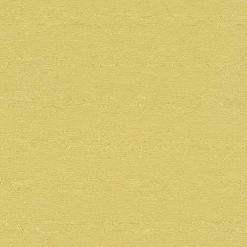 rasch Tapete 449839 aus der Kollektion Florentine II – Einfarbige Vliestapete in kräftigem Gelb – 10,05m x 53cm (L x B)