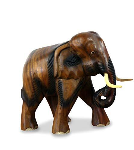 livasia Holzelefant Rüssel unten (Glückselefant), asiatischer Deko Elefant, Tierskulptur (Kleiner Elefant)