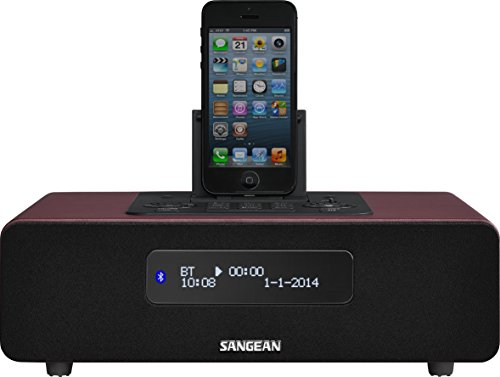 Sangean DDR-38 Digitalradio und Bluetooth Lautsprecher (mit iPhone Dockingstation, Wecker mit Dual Alarm, Powerbank, LCD Display) rot